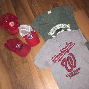 Washington Nationals hat and shirt lot bundle